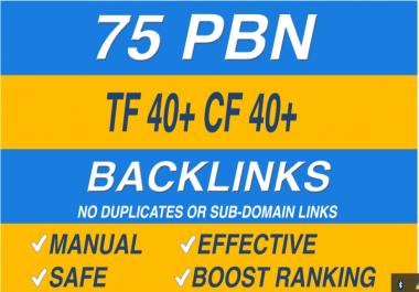 75 homepage pbn backlinks high tf cf da pa private blog network