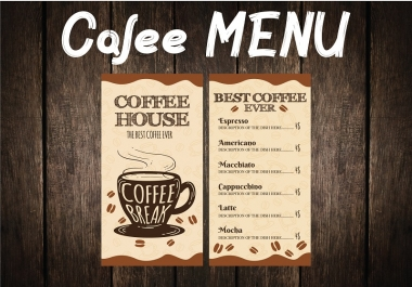Professional ready to print MENU for your Cafe