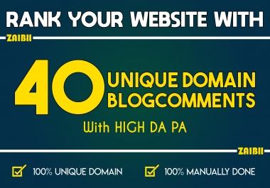 Do 40 Unique Domain Blogcomments with High DA PA
