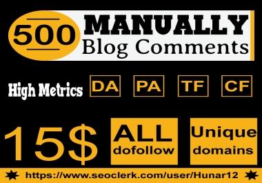 Do 500 HQ Blog Comment Dofollow Backlinks