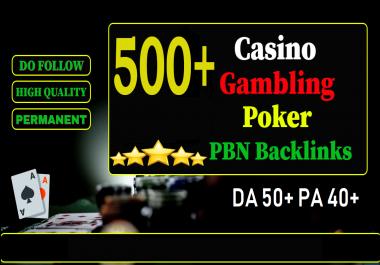 GET 500+ PRIMIUM CASINO PBN homepage web 2.0 with HIGH DA 50+ PA 40+ WITH UNIQUE WEBSITE