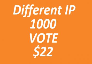 Get offer 1000 genuine Different ip polls votes few hour