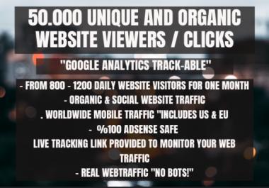 50.000 organic keyword targeted website trackable traffic viewers clicks