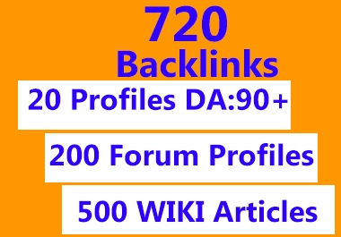 720 backlinks profiles,forum,wiki
