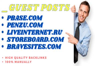 Write & Publish 5 Guest Post on liveinternet, pbase, penzu, bravesites, Storeboard