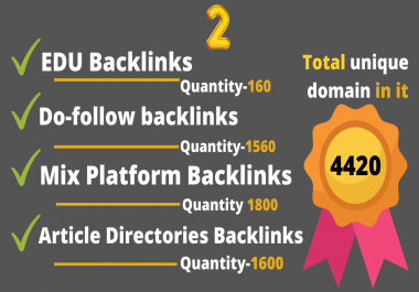 5100 plus seo backlinks from .EDU, Dofollow, Article directories and Mix platforms backlinks