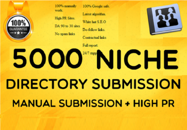 Do 5000 HQ Directory Submission Manually Backlinks With DA-PA-TF,100-40 From PR10 To PR1 Sites