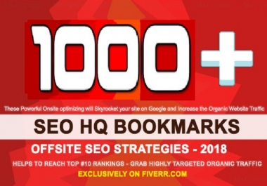 Do 1000 HQ Social Bookmarks Backlinks With DA-PA-TF,100-40 for your Website, Keyword and Youtube
