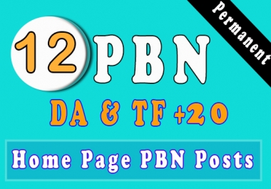 12 High PA DA TF CF HomePage PBN Backlinks - Dofollow Quality Links