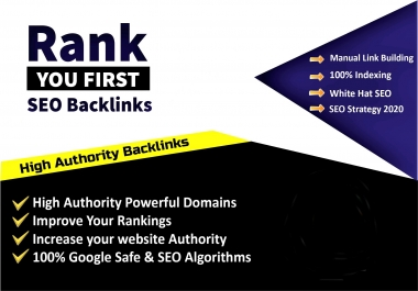 Build High Quality Premium White Hat SEO Backlinks Manual Link Building