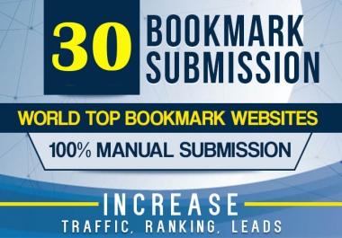 Manually 30 Bookmark Submission Backlinks High Pa Da Cf Tf