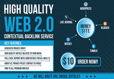 High DA 10 Web 2.0 Contextual backlinks with login for Google Ranking