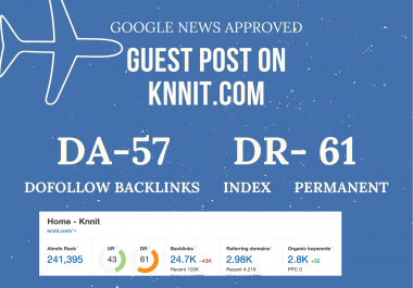 publish high quality Google news approved guestpost on knnit dot com DA57