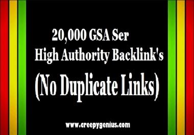 20K GSA Ser High Authority Backlink's - (No Duplicate Links)