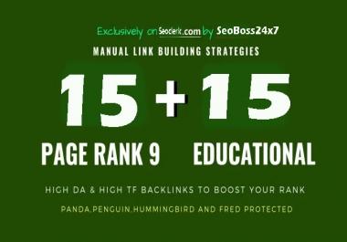 15 Pr9 + 15 Edu - Gov High Pr SEO Authority Backlinks - Fire Your Google Ranking