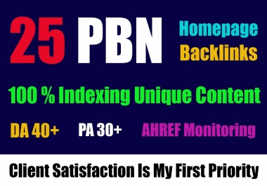 Get Homepage Dofollow 25 PBN Backlinks With High DA 40+ And High PA/TF/CF now only