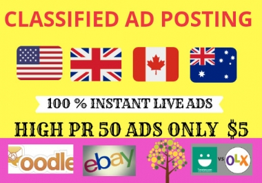 Increase Your Sell 50 Manually High Authority classified ads posting sites top rangking