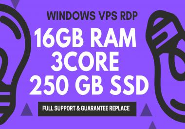 Windows VPS RDP 16GB RAM 3CORE 250GB SSD