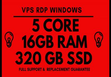 VPS RDP WINDOWS 5 Core 16GB RAM 320GB SSD