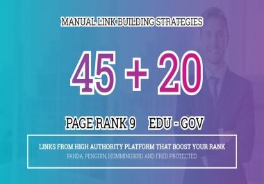 Fire Your Google Ranking with 45 Pr9+ 20 Edu/Gov Safe Authority Backlinks