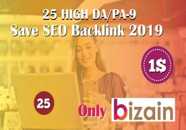 Manually Do 25 Pr9 DA 80+ Safe SEO High Authority Backlinks 2019 Best Results