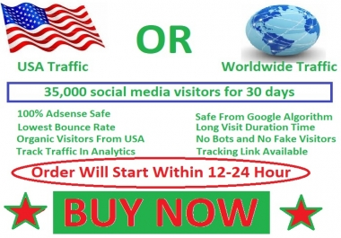 35,000 social media visitors guarantee 100% for 30 days