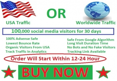 100,000 social media visitors guarantee 100% for 45 days