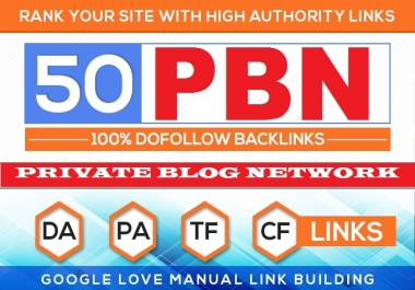 Build 50 HomePage PBN Backlinks (Gurantee Domain Authority Ranking) Do-Follow premanent