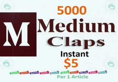 Instant 5000 Medium Claps Worldwide human genuine users