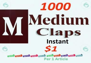 Instant 1000 Medium Claps Worldwide human genuine users