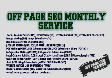 DO OFF-Page SEO Monthly Service for USA, UK, Canada, Australia etc