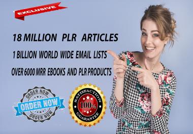 Get Over 18 Million PLR Articles, eBooks,1 Billion Email Database , Bonuses and Giveaways