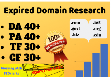 3 expired domain research with high metrics pbn for your niche targeted