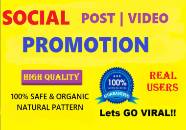 Social Video & Post Promotion and Marketing