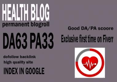 Give your backlink on da63x6 health blogroll dofollow