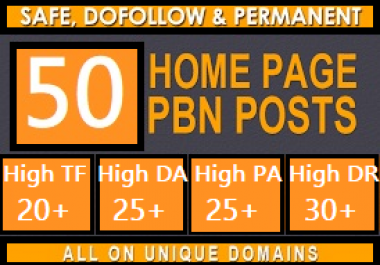 Build 50 pbn Do-Follow DA 25+ homepage parmanent high quality backlinks