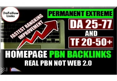 Build 100 PBN Do-Follow DA 25+ homepage parmanent high quality backlinks