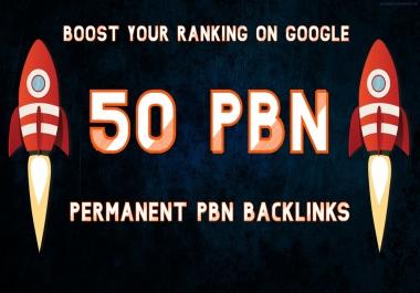 I will build 50 Unique PBN dofollow homepage DA 25+ parmanent backlinks