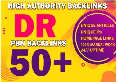Build 10 PBN DR 50+ homepage parmanent backlinks
