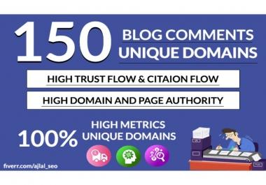 I will do 150 unique domain blog comments dofollow High DA PA backlinks