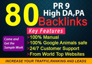 I will do manual 80 Unique SEO Profile backlinks on high DA,pr9 backlinks