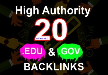 i will create manually 20 EDU. GOV Authority Backlinks Us based