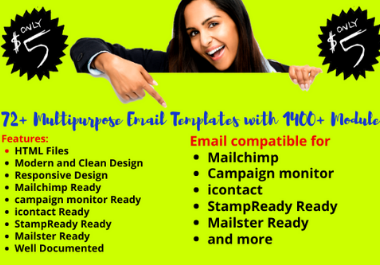 I will give you 72 Multipurpose Email Templates and 1400 Modules for MailChimp and Mailster