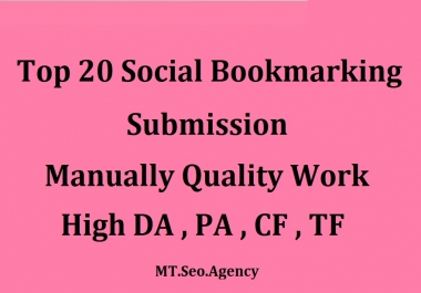 Manually 20 Bookmark Submission Backlinks, High Pa Da Cf Tf