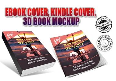 I will design ebook cover, kindle cover, 3d book mockup,