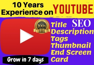 I will create and manage Youtube growth,video SEO, Tag, End screen