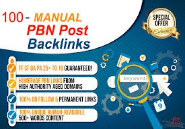 100 Powerful High Quality Homepage PBN Dofollow Backlinks