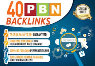I will 40 pbn backlinks high Da Tf from my own real authority pbns