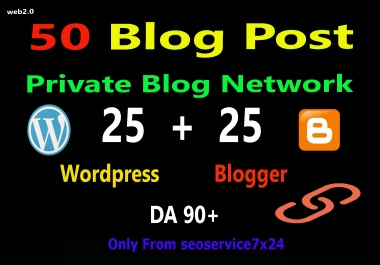 50 PBN POSTs Backlinks Wordpress And Blogger With High DA-PA Permanent Links