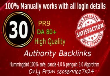 Manually Do 30 Pr9 DA 80+ Safe SEO High Authority Backlinks 30+ Domain HIGH QUALITY BACKLINKS